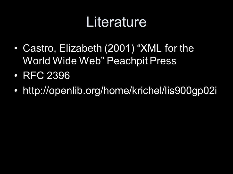 Literature Castro, Elizabeth (2001) XML for the World Wide Web Peachpit Press RFC 2396 http://openlib.org/home/krichel/lis900gp02i
