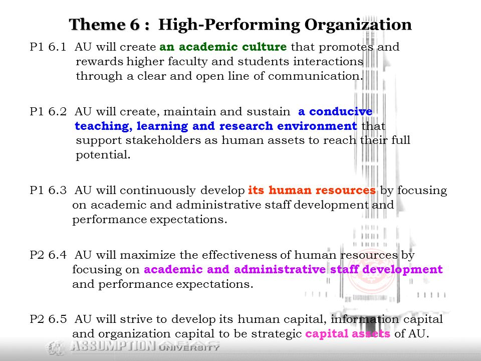 Theme 6 : Theme 6 : High-Performing Organization P1 6.1 AU will create an academic culture that promotes and rewards higher faculty and students interactions through a clear and open line of communication.