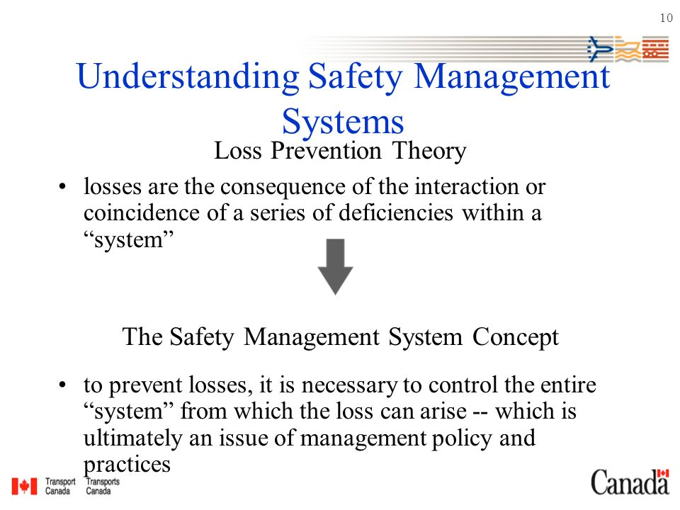10 Understanding Safety Management Systems Loss Prevention Theory losses are the consequence of the interaction or coincidence of a series of deficiencies within a system The Safety Management System Concept to prevent losses, it is necessary to control the entire system from which the loss can arise -- which is ultimately an issue of management policy and practices