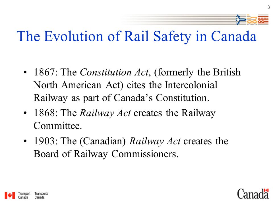 3 The Evolution of Rail Safety in Canada 1867: The Constitution Act, (formerly the British North American Act) cites the Intercolonial Railway as part of Canada's Constitution.