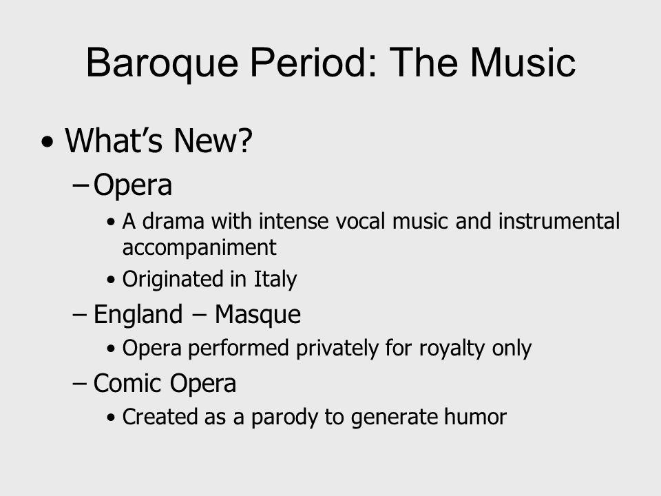 Baroque Period: The Music What's New.