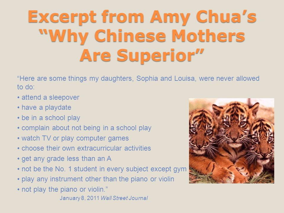 """why chinese mothers are superior 5 essay """"why chinese mothers are superior"""" in our essay, we have looked at the differences between usa and chine in how the two cultures raise their children."""