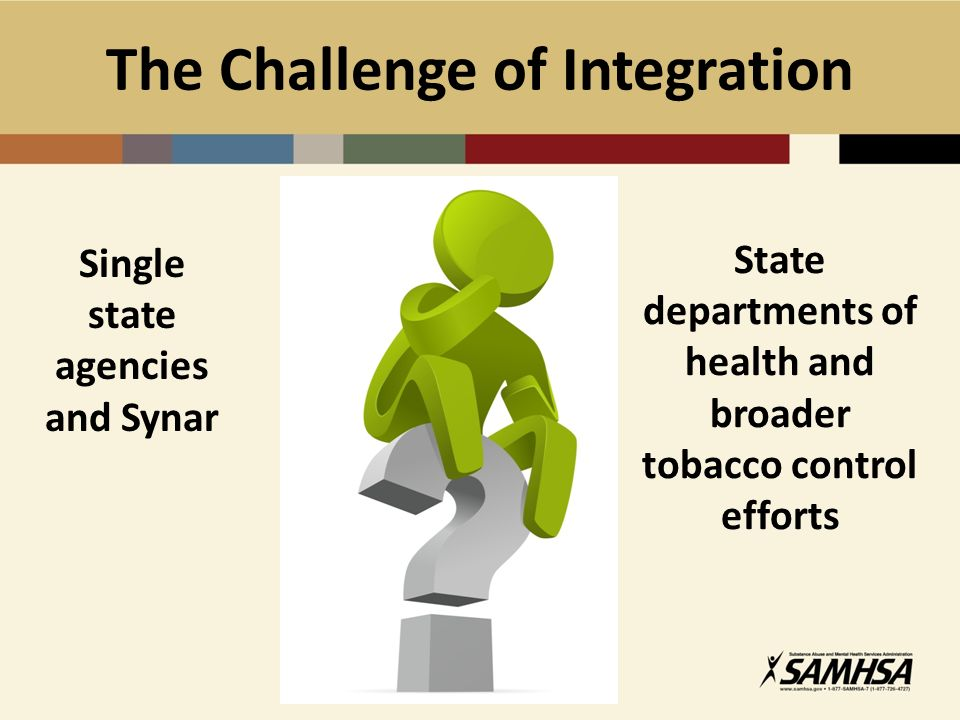 The Challenge of Integration Single state agencies and Synar State departments of health and broader tobacco control efforts