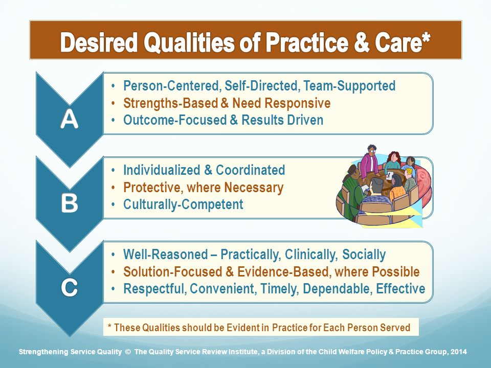 Person-Centered, Self-Directed, Team-Supported Strengths-Based & Need Responsive Outcome-Focused & Results Driven Individualized & Coordinated Protective, where Necessary Culturally-Competent C Well-Reasoned – Practically, Clinically, Socially Solution-Focused & Evidence-Based, where Possible Respectful, Convenient, Timely, Dependable, Effective * These Qualities should be Evident in Practice for Each Person Served