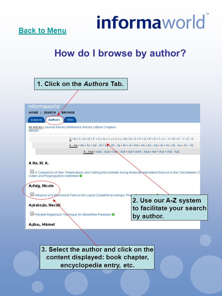 2. Use our A-Z system to facilitate your search by author.