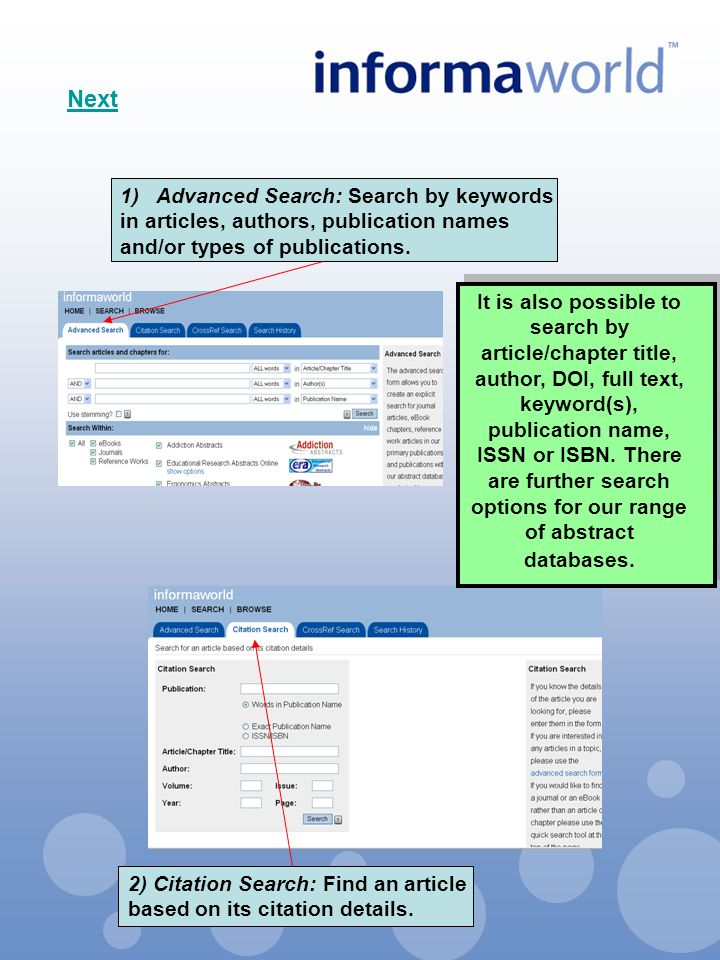 1)Advanced Search: Search by keywords in articles, authors, publication names and/or types of publications.