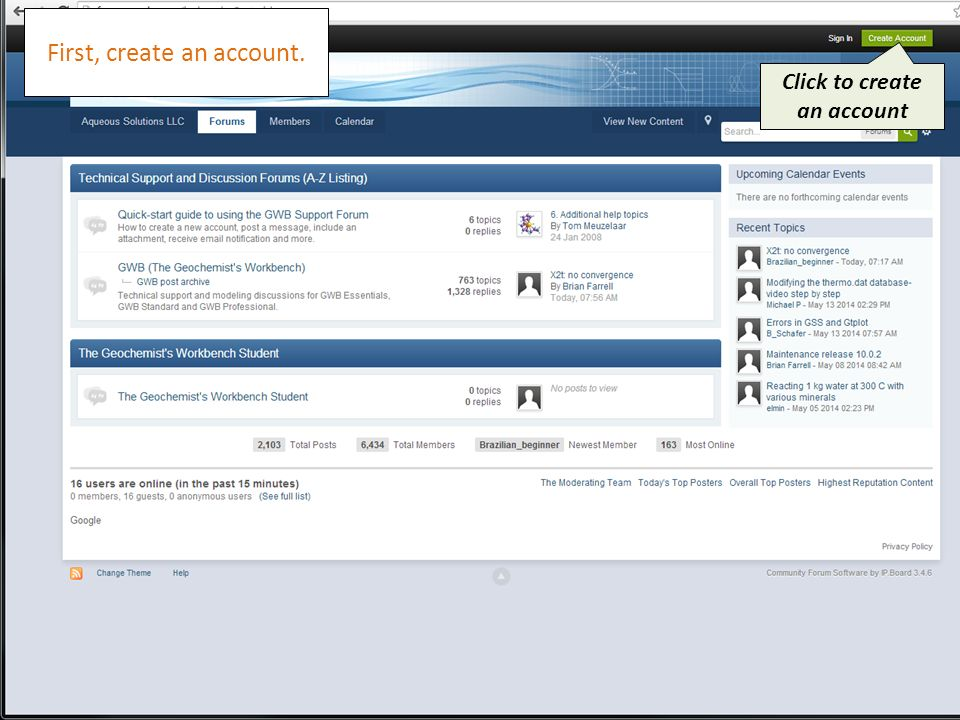 First, create an account. Click to create an account