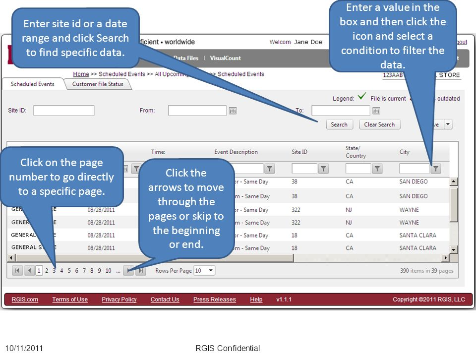 Enter site id or a date range and click Search to find specific data.