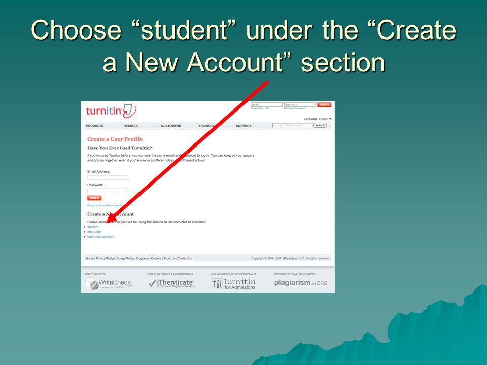 Choose student under the Create a New Account section