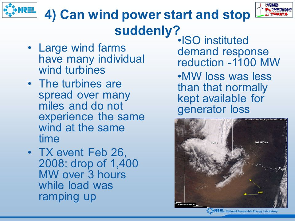4) Can wind power start and stop suddenly.