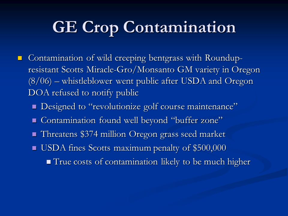 GE Crop Contamination Contamination of wild creeping bentgrass with Roundup- resistant Scotts Miracle-Gro/Monsanto GM variety in Oregon (8/06) – whistleblower went public after USDA and Oregon DOA refused to notify public Contamination of wild creeping bentgrass with Roundup- resistant Scotts Miracle-Gro/Monsanto GM variety in Oregon (8/06) – whistleblower went public after USDA and Oregon DOA refused to notify public Designed to revolutionize golf course maintenance Designed to revolutionize golf course maintenance Contamination found well beyond buffer zone Contamination found well beyond buffer zone Threatens $374 million Oregon grass seed market Threatens $374 million Oregon grass seed market USDA fines Scotts maximum penalty of $500,000 USDA fines Scotts maximum penalty of $500,000 True costs of contamination likely to be much higher True costs of contamination likely to be much higher