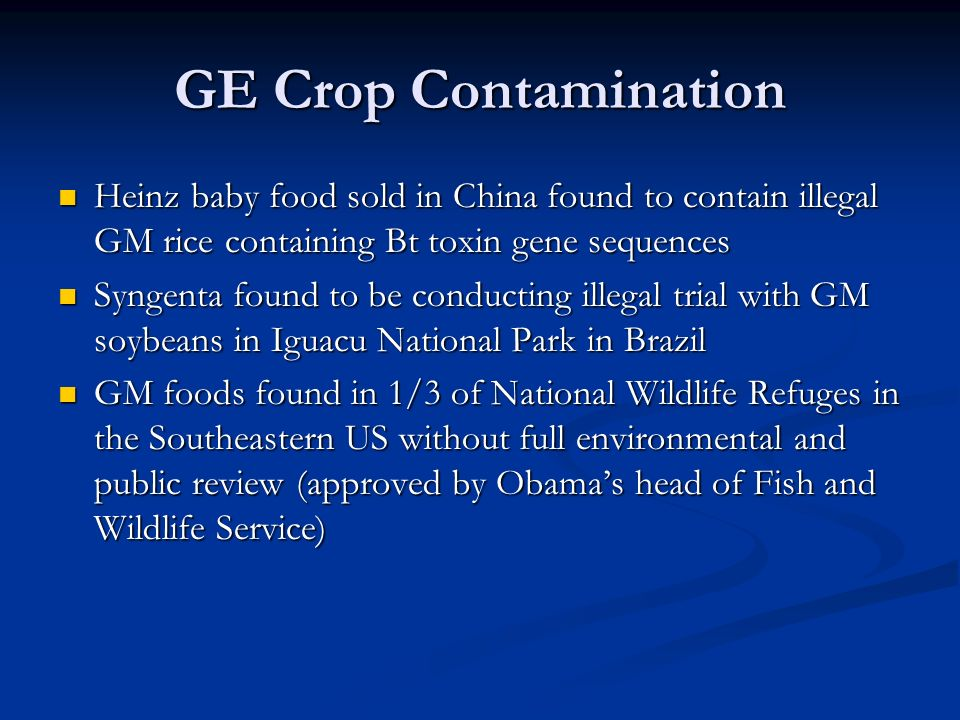 GE Crop Contamination Heinz baby food sold in China found to contain illegal GM rice containing Bt toxin gene sequences Heinz baby food sold in China found to contain illegal GM rice containing Bt toxin gene sequences Syngenta found to be conducting illegal trial with GM soybeans in Iguacu National Park in Brazil Syngenta found to be conducting illegal trial with GM soybeans in Iguacu National Park in Brazil GM foods found in 1/3 of National Wildlife Refuges in the Southeastern US without full environmental and public review (approved by Obama's head of Fish and Wildlife Service) GM foods found in 1/3 of National Wildlife Refuges in the Southeastern US without full environmental and public review (approved by Obama's head of Fish and Wildlife Service)