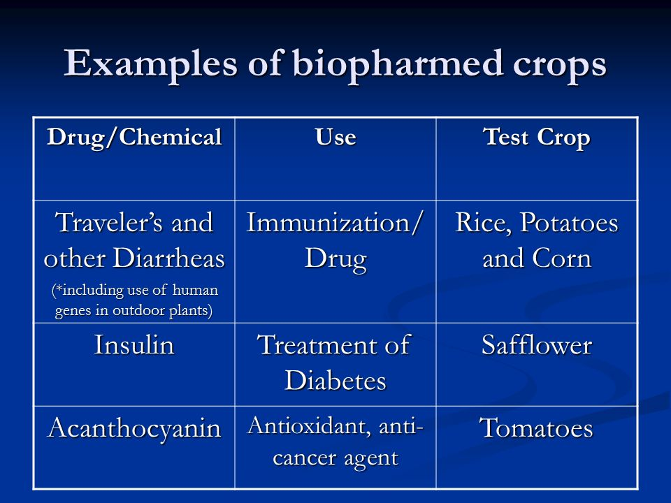 Examples of biopharmed crops Drug/ChemicalUse Test Crop Traveler's and other Diarrheas (*including use of human genes in outdoor plants) Immunization/ Drug Rice, Potatoes and Corn Insulin Treatment of Diabetes Safflower Acanthocyanin Antioxidant, anti- cancer agent Tomatoes