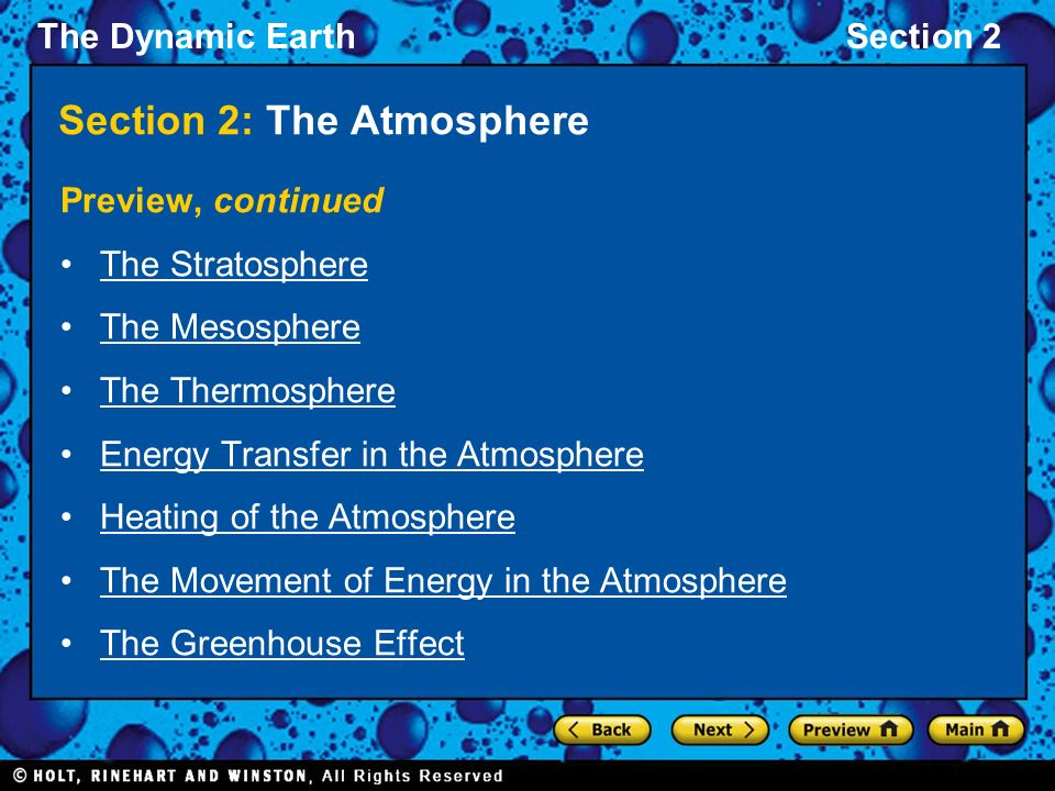 The Dynamic EarthSection 2 Section 2: The Atmosphere Preview, continued The Stratosphere The Mesosphere The Thermosphere Energy Transfer in the Atmosphere Heating of the Atmosphere The Movement of Energy in the Atmosphere The Greenhouse Effect