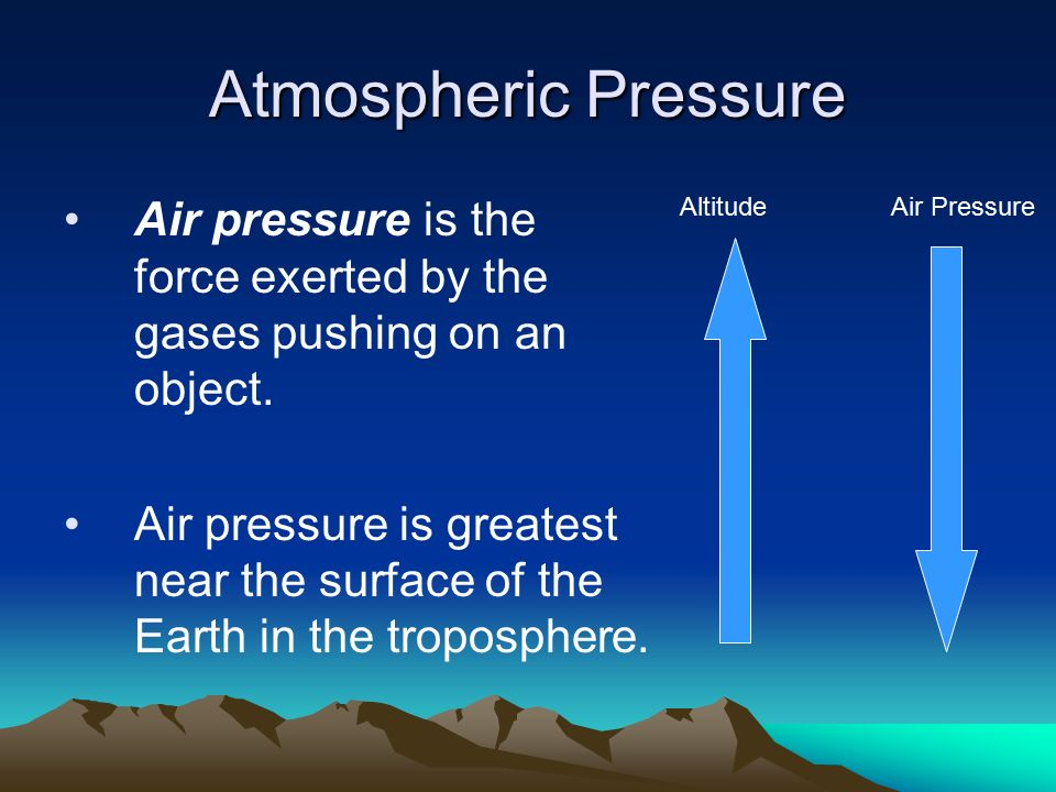 Atmospheric Pressure Air pressure is the force exerted by the gases pushing on an object.