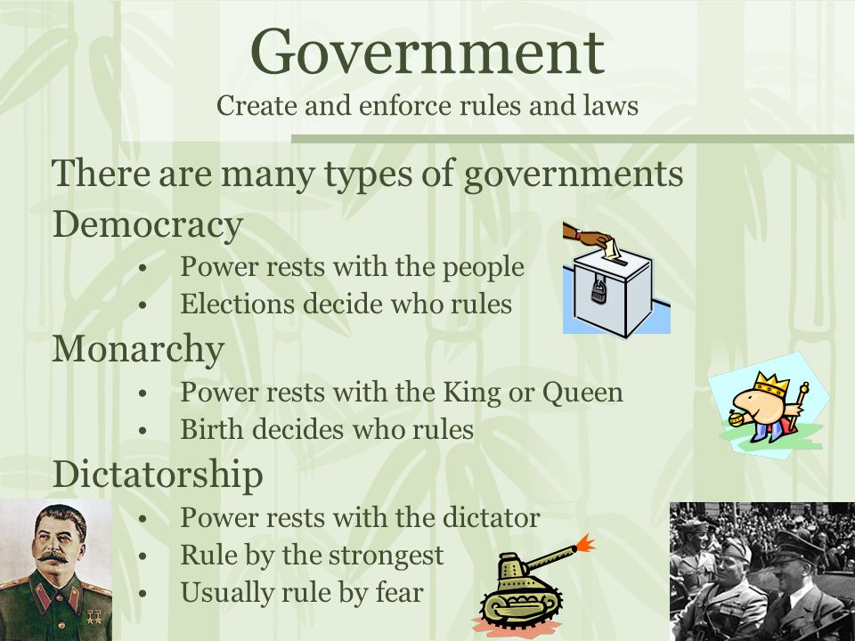 Government Create and enforce rules and laws There are many types of governments Democracy Power rests with the people Elections decide who rules Monarchy Power rests with the King or Queen Birth decides who rules Dictatorship Power rests with the dictator Rule by the strongest Usually rule by fear