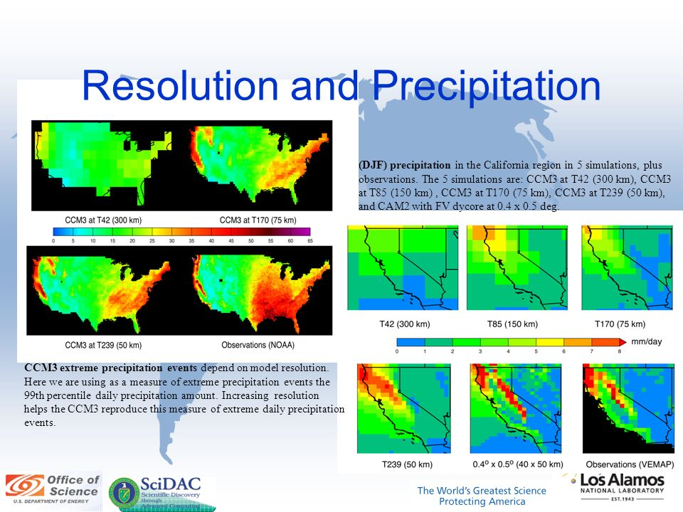 Resolution and Precipitation CCM3 extreme precipitation events depend on model resolution.