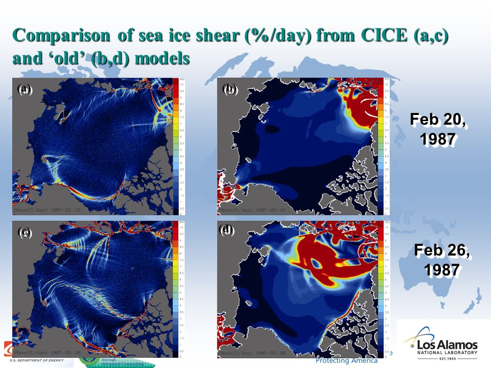 Comparison of sea ice shear (%/day) from CICE (a,c) and 'old' (b,d) models Feb 20, 1987 Feb 26, 1987 (a) (c) (b) (d)