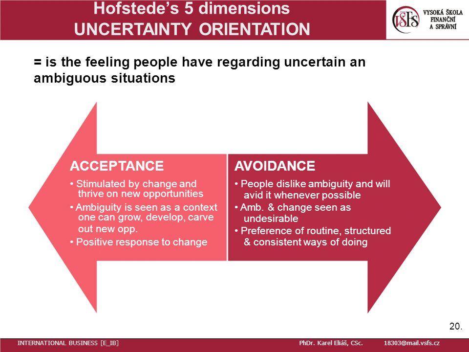 Hofstede's 5 dimensions UNCERTAINTY ORIENTATION = is the feeling people have regarding uncertain an ambiguous situations ACCEPTANCEAVOIDANCE Stimulated by change and People dislike ambiguity and will thrive on new opportunities avid it whenever possible Ambiguity is seen as a context Amb.