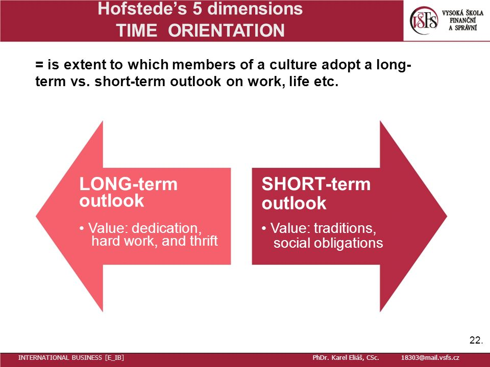 Hofstede's 5 dimensions TIME ORIENTATION = is extent to which members of a culture adopt a long- term vs.