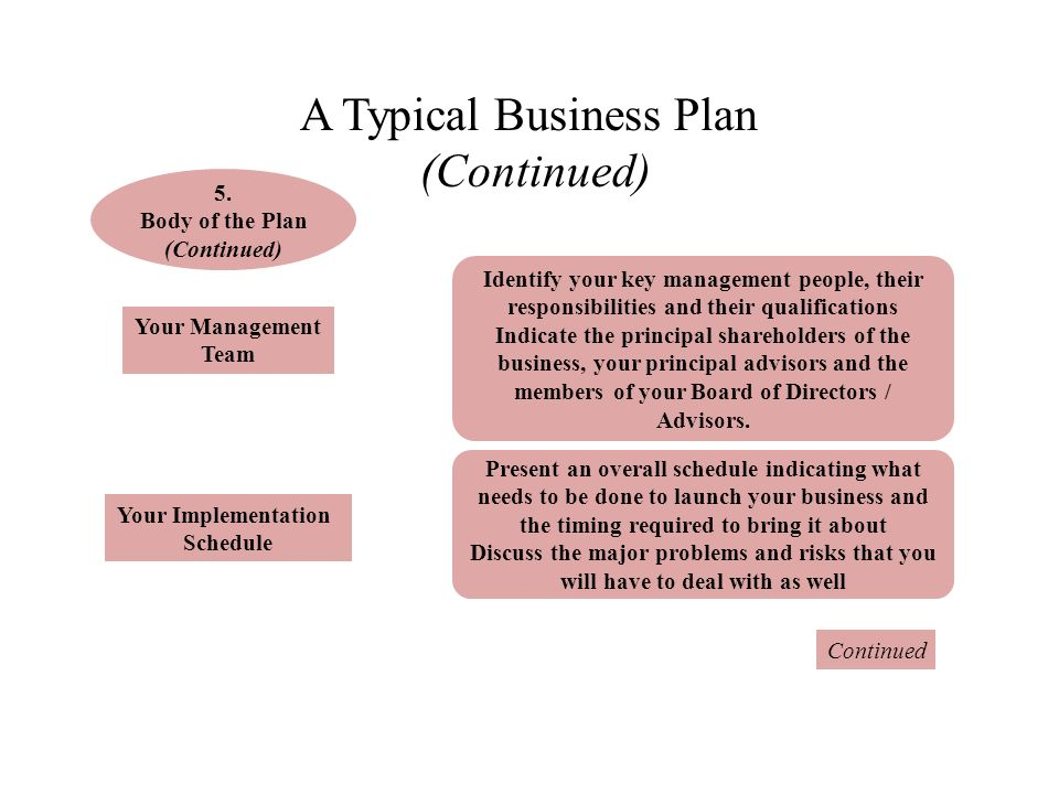 Present business plan