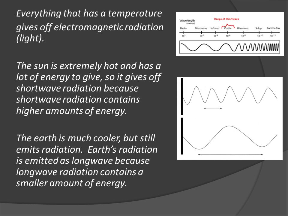 Everything that has a temperature gives off electromagnetic radiation (light).