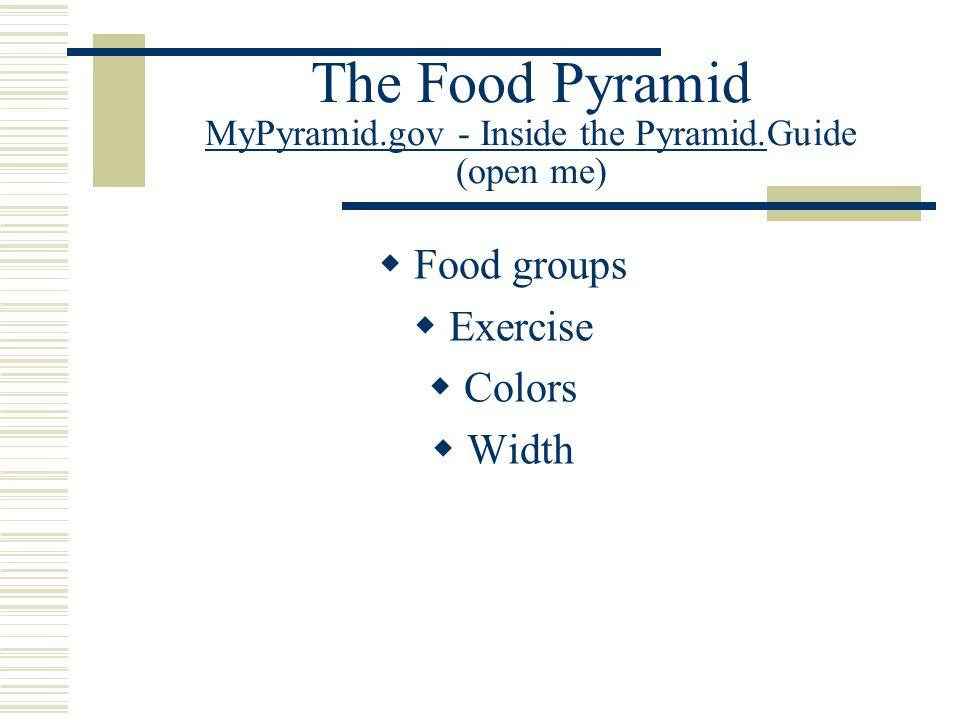The Food Pyramid MyPyramid.gov - Inside the Pyramid.Guide (open me) MyPyramid.gov - Inside the Pyramid.