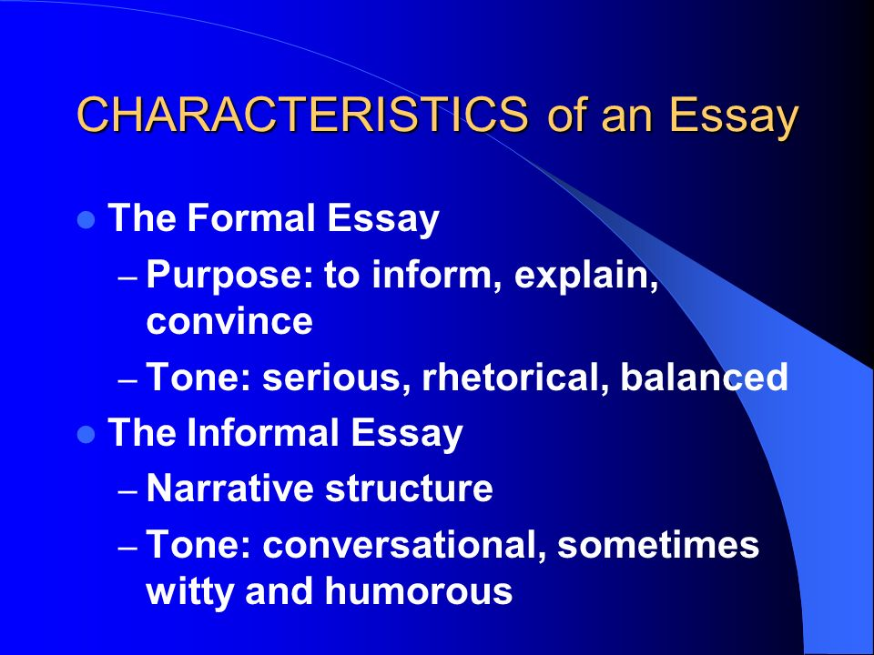 tone essay structure The essay takes on the tone of a legal case a third structure, called a delayed thesis essay, starts out open form, and switches to closed form partway along.