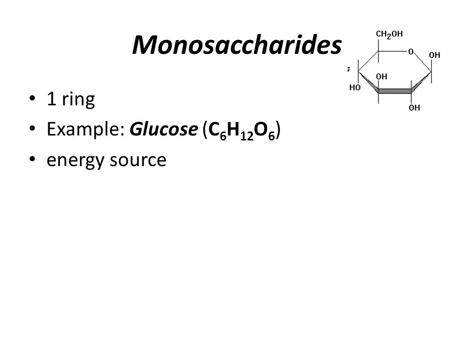 Monosaccharides 1 ring Example: Glucose (C 6 H 12 O 6 ) energy source