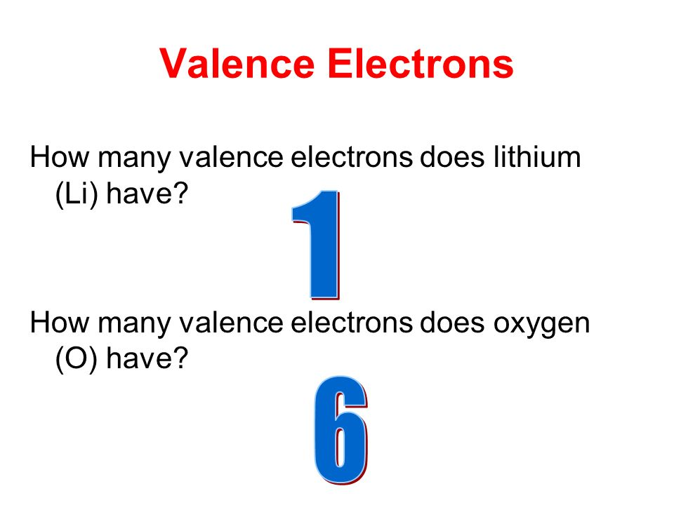 How many valence electrons does lithium (Li) have.