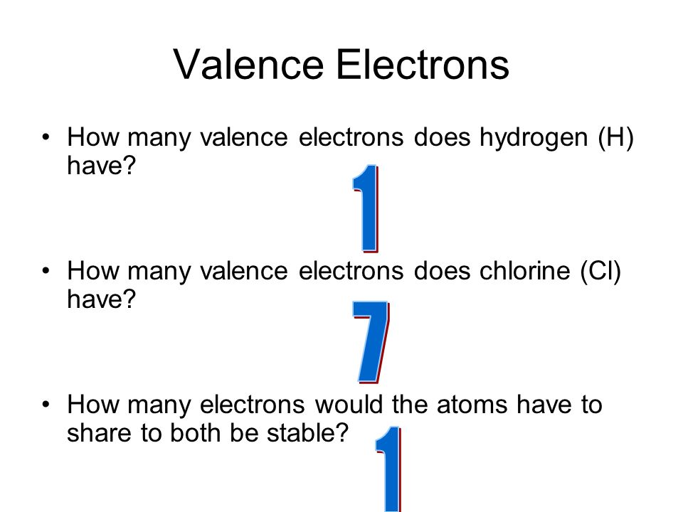 Valence Electrons How many valence electrons does hydrogen (H) have.