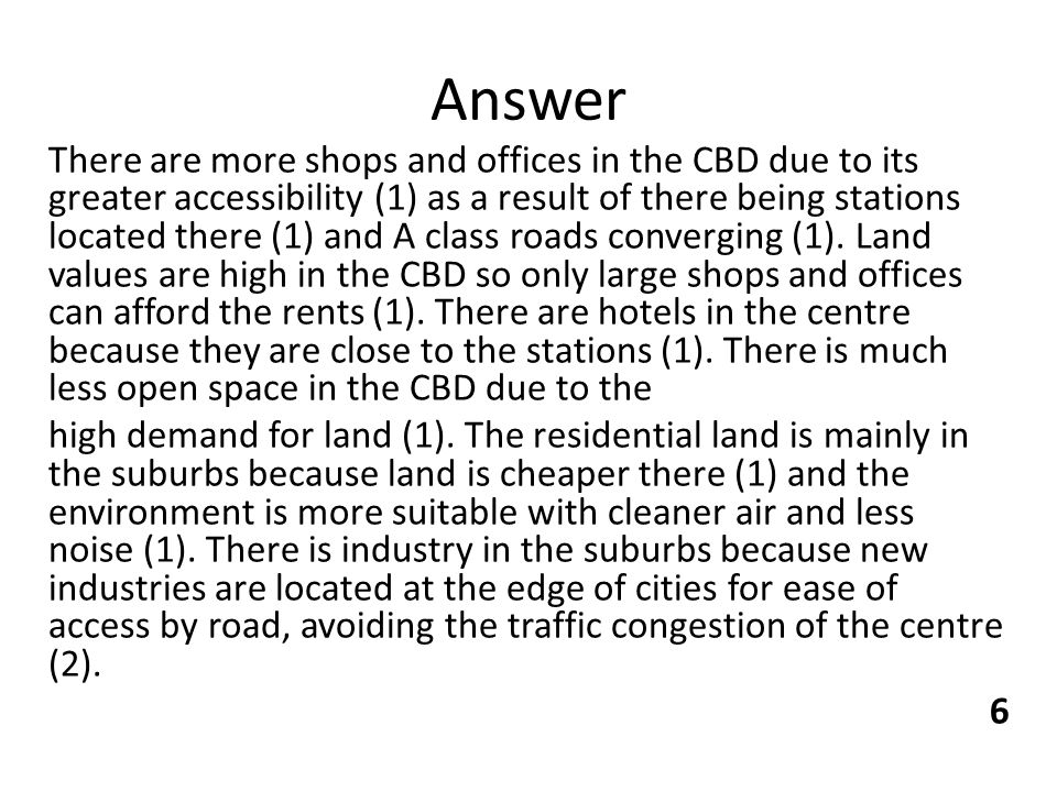 (gcse level) Is this short paragraph about shops/CBD correct? What could i add for more marks?
