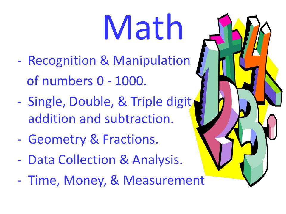 Math -Recognition & Manipulation of numbers