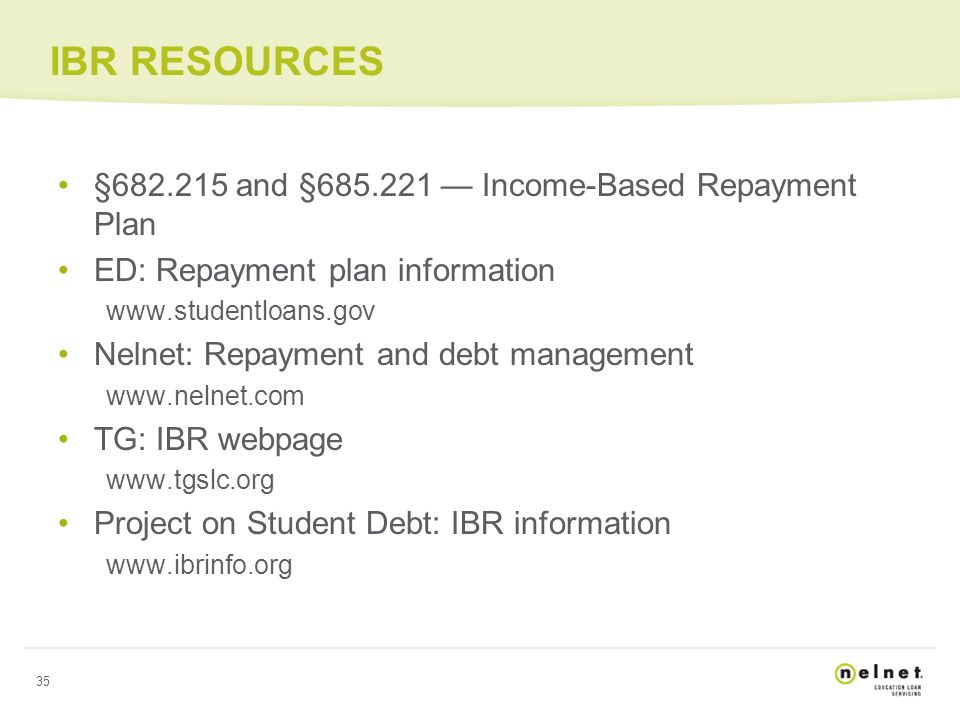 IBR: A TOOL TO HELP STUDENTS MANAGE REPAYMENT Webinar Wednesday ...