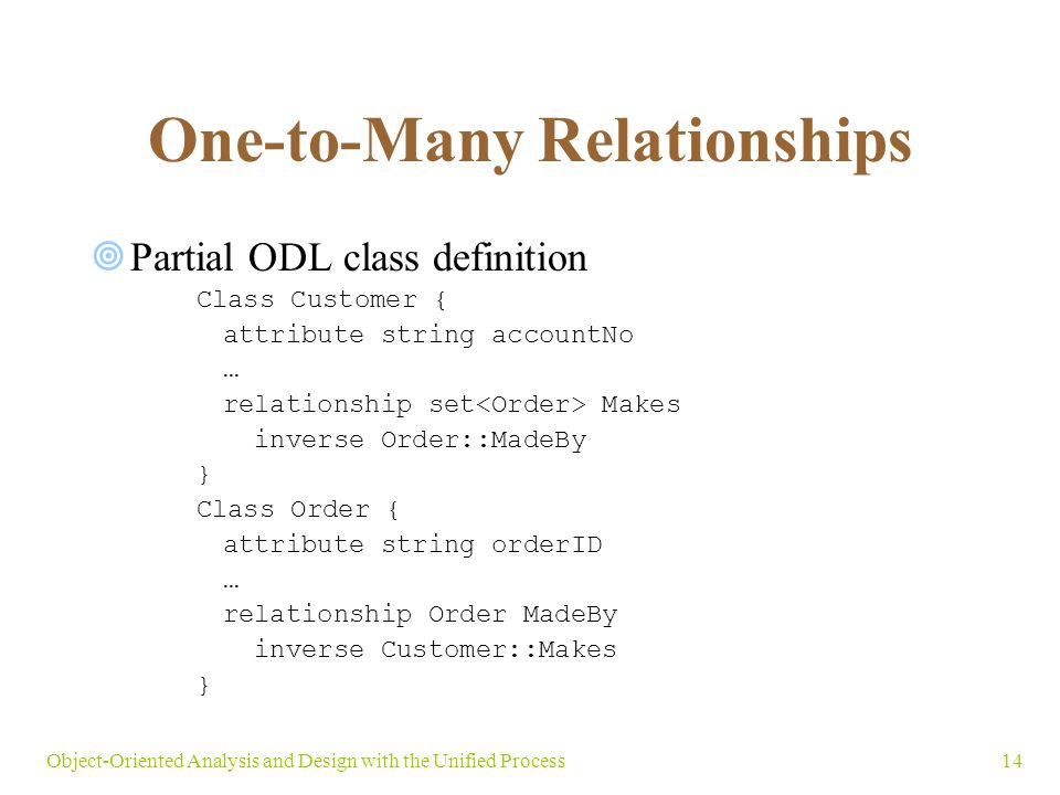 14Object-Oriented Analysis and Design with the Unified Process One-to-Many Relationships  Partial ODL class definition Class Customer { attribute string accountNo … relationship set Makes inverse Order::MadeBy } Class Order { attribute string orderID … relationship Order MadeBy inverse Customer::Makes }