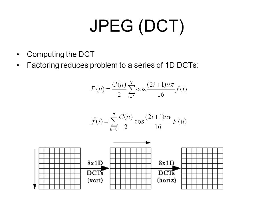 JPEG (DCT) Computing the DCT Factoring reduces problem to a series of 1D DCTs: