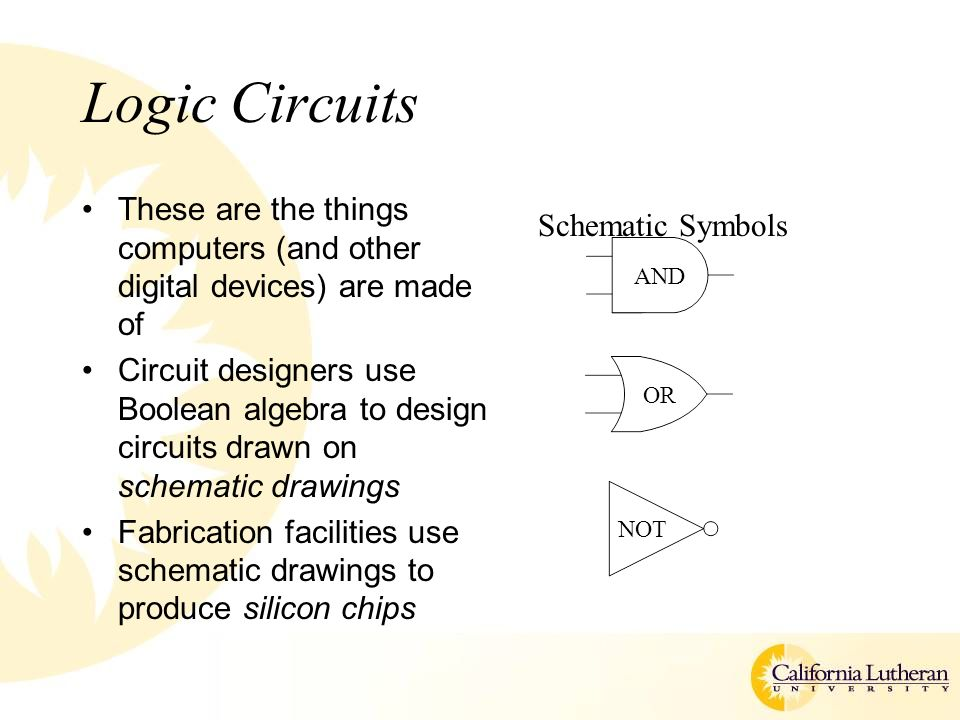 Logic Circuits These are the things computers (and other digital devices) are made of Circuit designers use Boolean algebra to design circuits drawn on schematic drawings Fabrication facilities use schematic drawings to produce silicon chips AND OR NOT Schematic Symbols