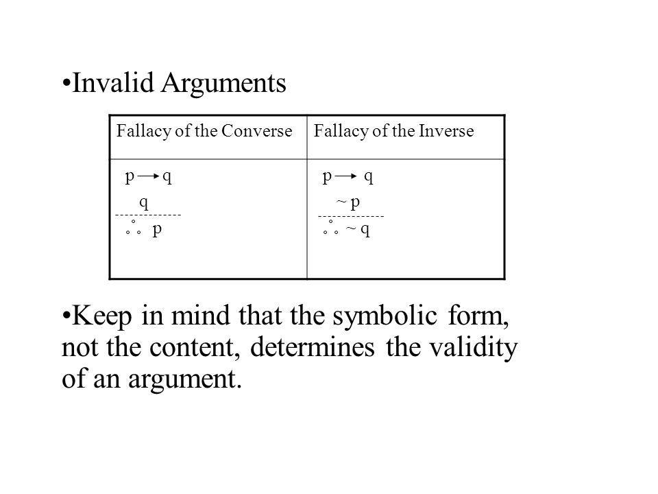 2.5 Verifying Arguments Write arguments symbolically. Determine ...