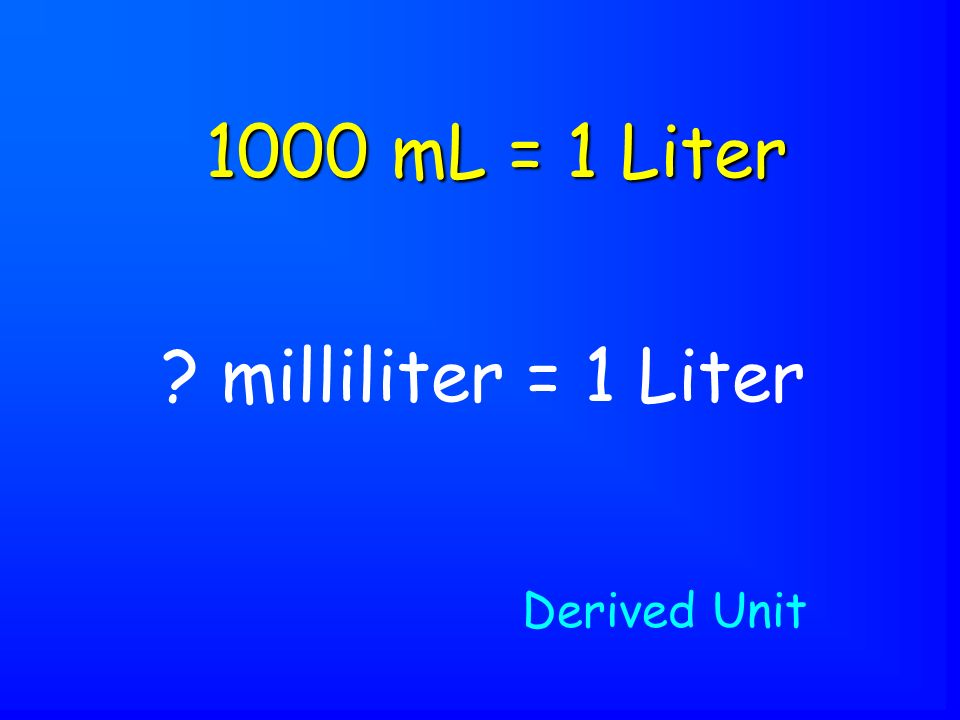 milliliter = 1 Liter 1000 mL = 1 Liter Derived Unit