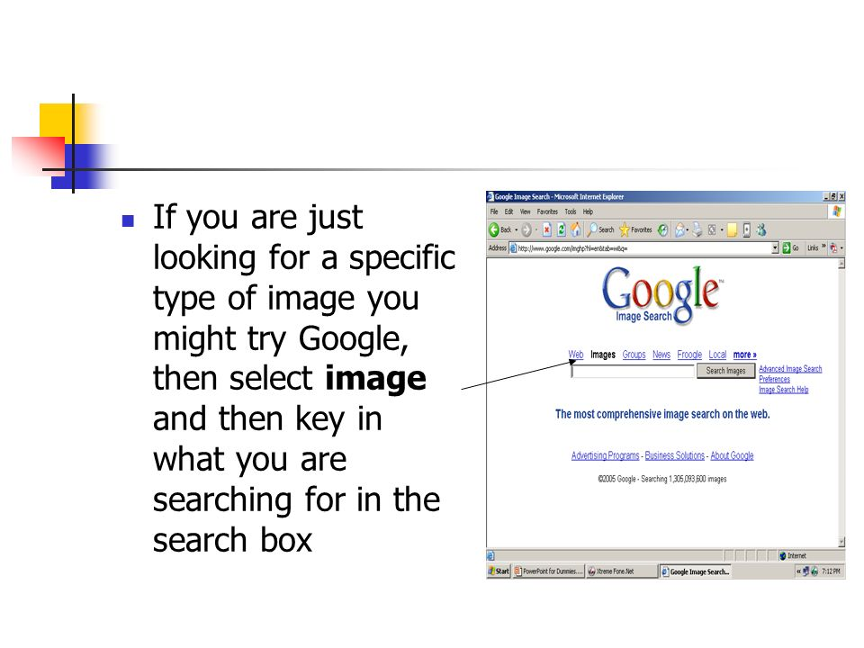 If you are just looking for a specific type of image you might try Google, then select image and then key in what you are searching for in the search box