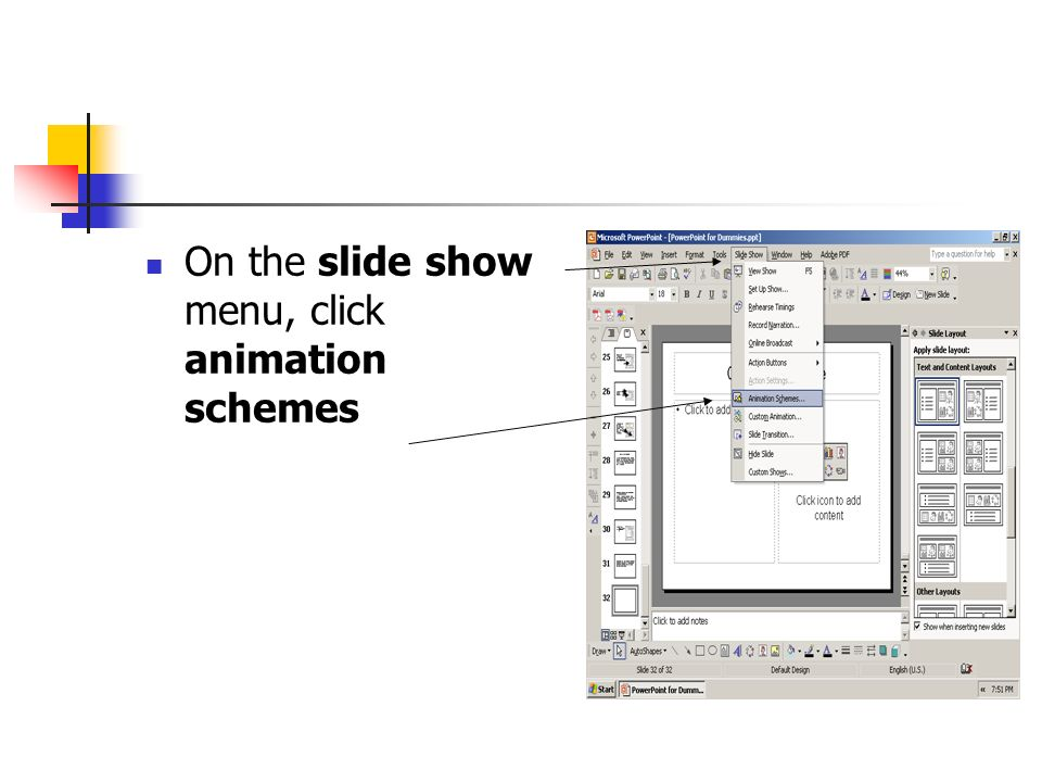 On the slide show menu, click animation schemes