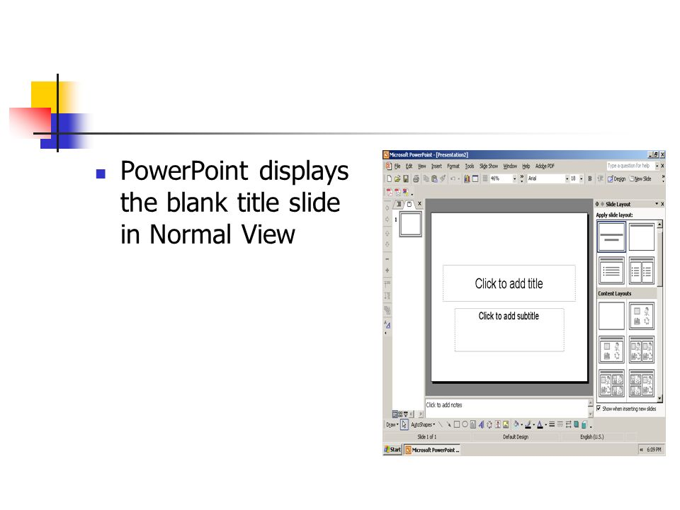 PowerPoint displays the blank title slide in Normal View