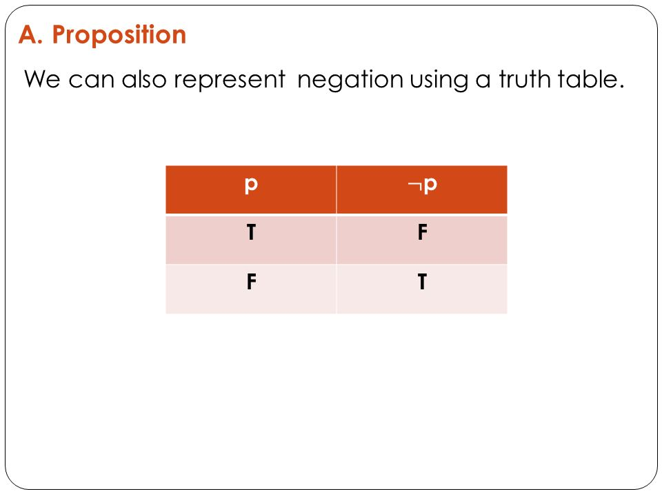 We can also represent negation using a truth table. p TF FT
