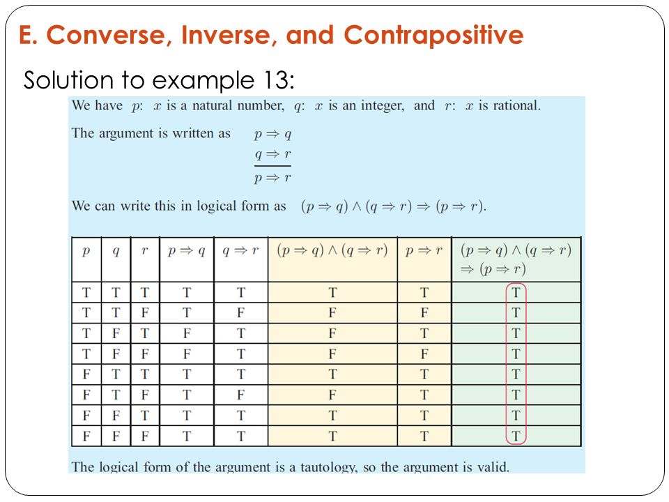 E. Converse, Inverse, and Contrapositive Solution to example 13: