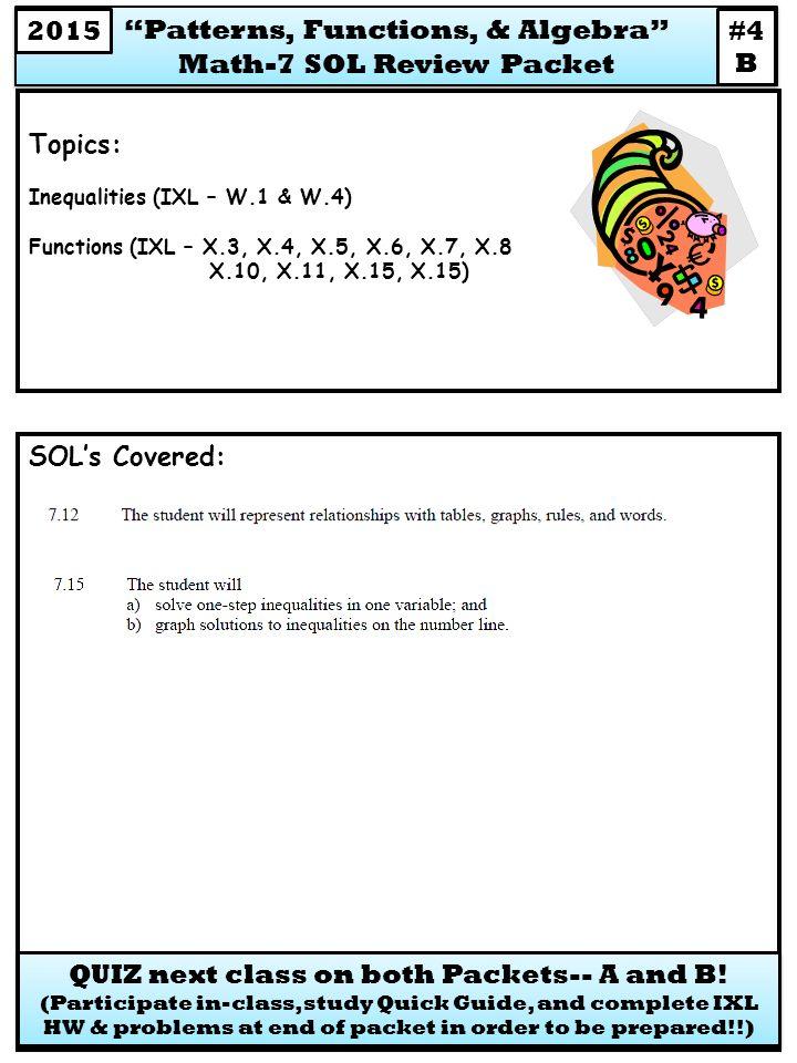 SOL\'s Covered: Topics: Inequalities (IXL – W.1 & W.4) Functions (IXL ...