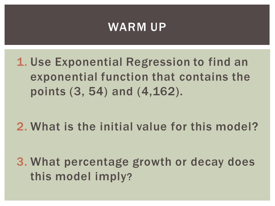 Day 7 Inverse Of A Function 1e Exponential Regression To Find