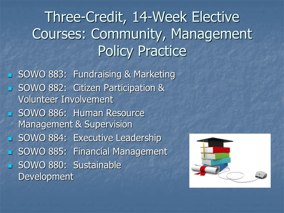 Three-Credit, 14-Week Elective Courses: Community, Management Policy Practice SOWO 883: Fundraising & Marketing SOWO 883: Fundraising & Marketing SOWO 882: Citizen Participation & Volunteer Involvement SOWO 882: Citizen Participation & Volunteer Involvement SOWO 886: Human Resource Management & Supervision SOWO 886: Human Resource Management & Supervision SOWO 884: Executive Leadership SOWO 884: Executive Leadership SOWO 885: Financial Management SOWO 885: Financial Management SOWO 880: Sustainable Development SOWO 880: Sustainable Development