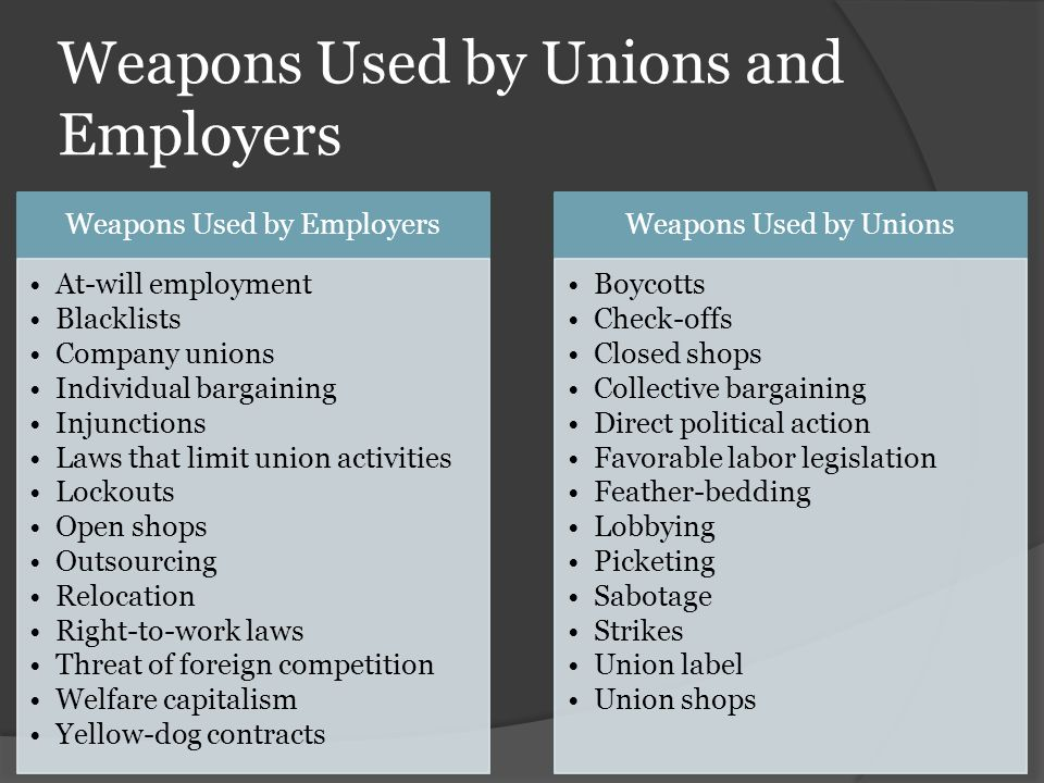 Weapons Used by Unions and Employers Weapons Used by Employers At-will employment Blacklists Company unions Individual bargaining Injunctions Laws that limit union activities Lockouts Open shops Outsourcing Relocation Right-to-work laws Threat of foreign competition Welfare capitalism Yellow-dog contracts Weapons Used by Unions Boycotts Check-offs Closed shops Collective bargaining Direct political action Favorable labor legislation Feather-bedding Lobbying Picketing Sabotage Strikes Union label Union shops