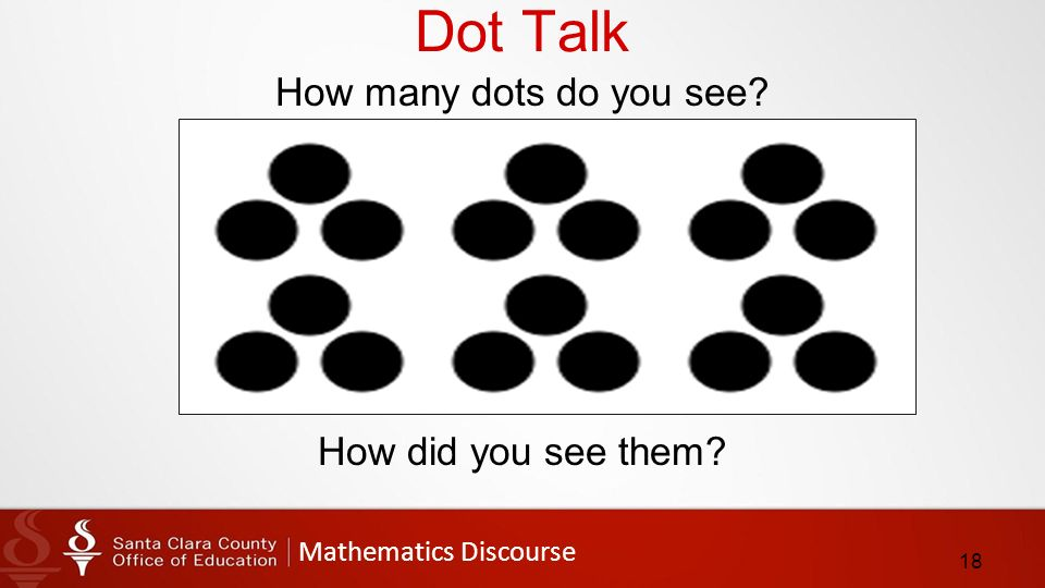 Mathematics Discourse Dot Talk How many dots do you see How did you see them 18