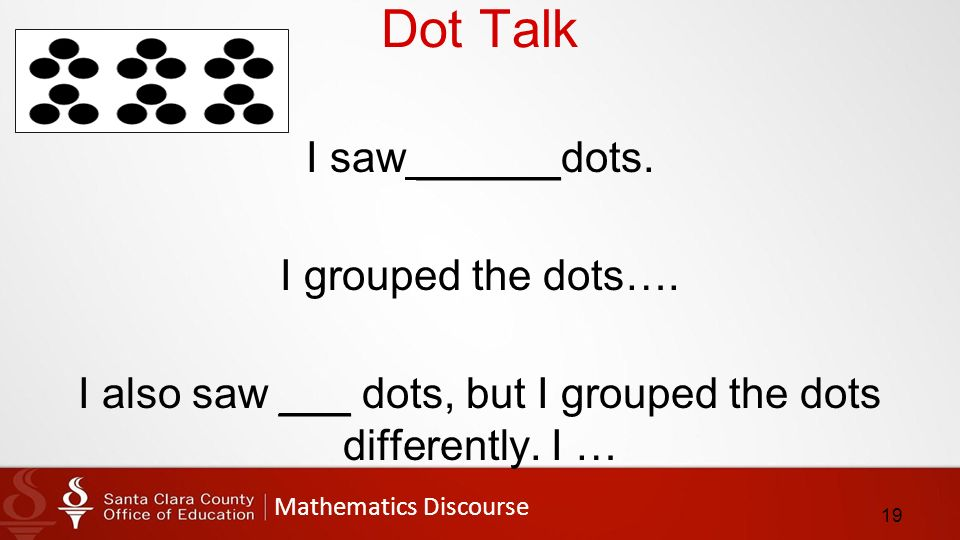 Mathematics Discourse Dot Talk I saw ______dots. I grouped the dots….